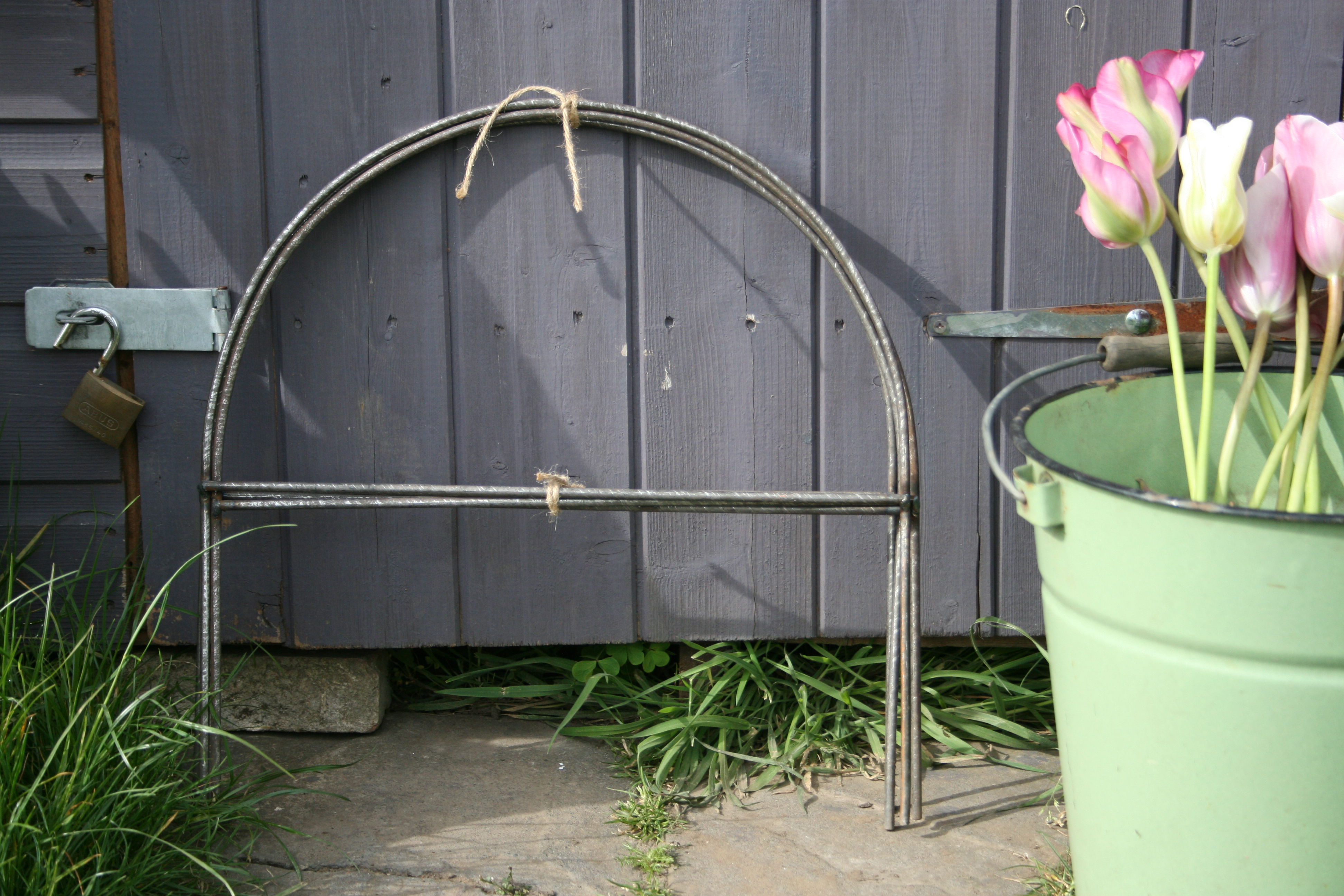 2 Small Cloche Hoops Rusted Lavender And Leeks