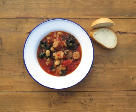 The Allotment Kitchen – Sausage, Butterbean and Kale Casserole