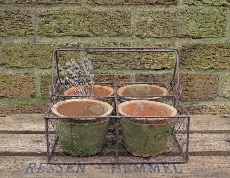 Basket with 4 Pots