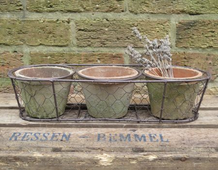 Basket with 3 Pots