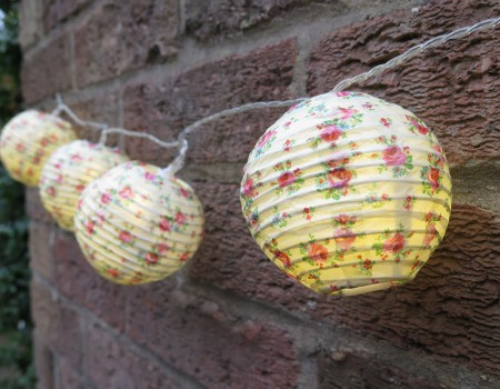 Floral Paper Ball String Lights