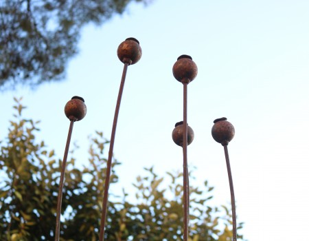 Large Metal Poppy Seed Heads