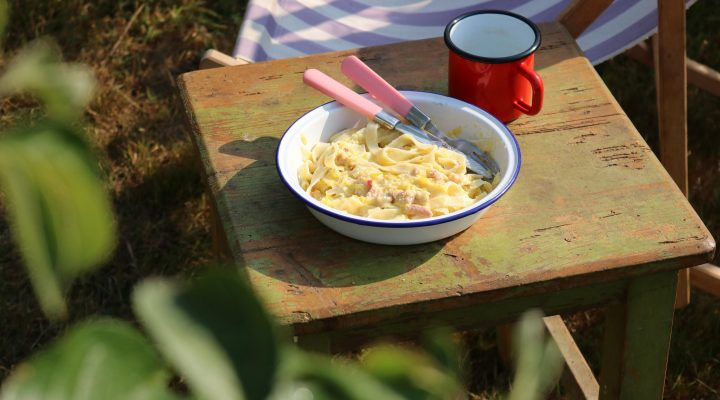 The Allotment Kitchen – Courgette and Bacon Carbonara