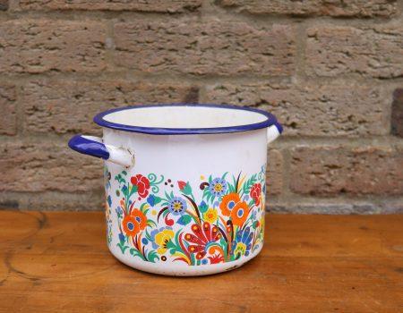 Enamel Floral Pot #1