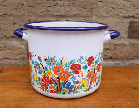 Enamel Floral Pot #2