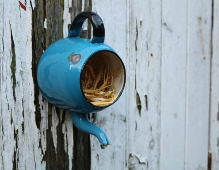 Enamel Teapot Bird House #1