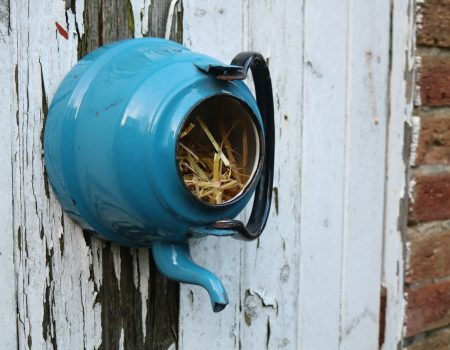 Enamel Teapot Bird House #4