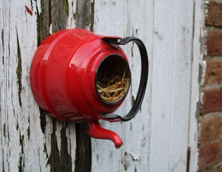 Enamel Teapot Bird House #9