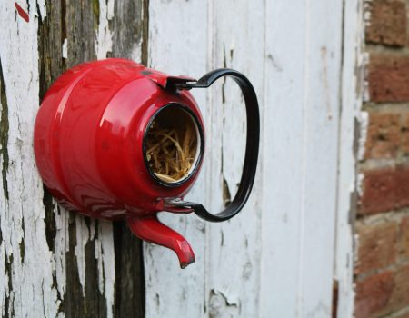 Enamel Teapot Bird House #10