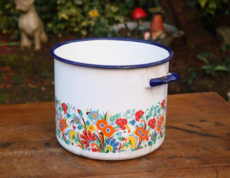 Floral Enamel Pot #43