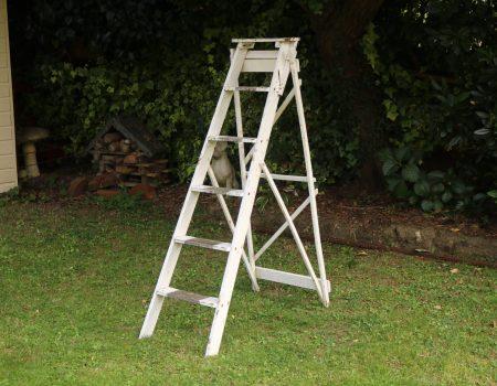 Tall White Wooden Step Ladder